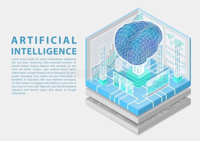 Begrepp för konstgjord intelligens med den digitala hjärnan som isometrisk vektorillustration stock illustrationer