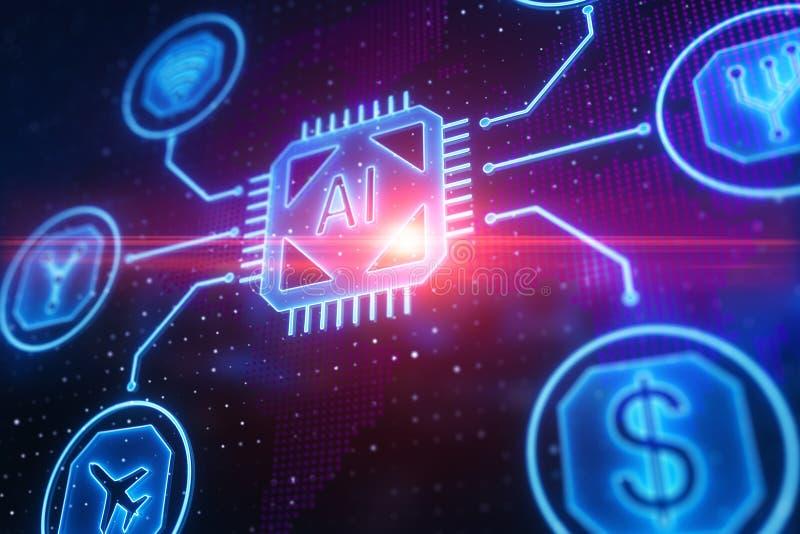 Begrepp för konstgjord intelligens och finans vektor illustrationer