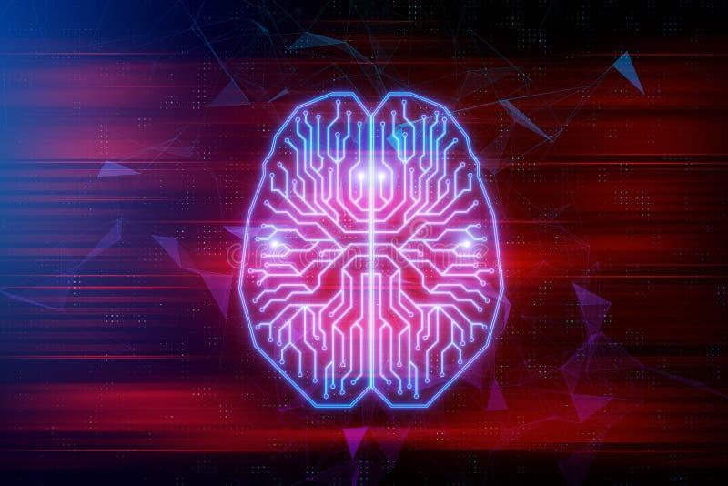 Begrepp för konstgjord intelligens och framtids stock illustrationer