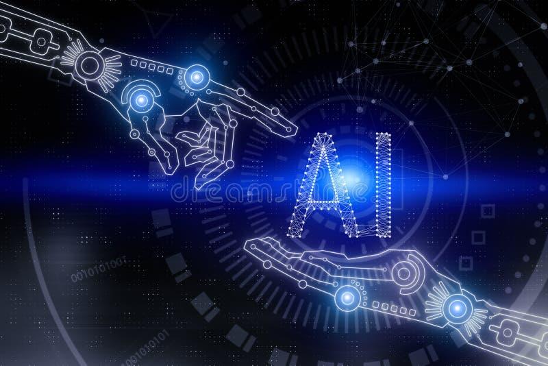 Begrepp för konstgjord intelligens och framtids arkivbild