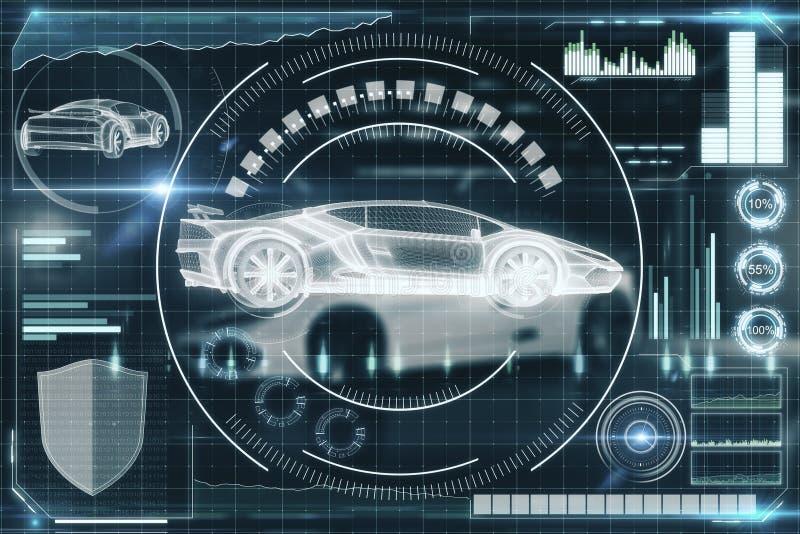 Begrepp för konstgjord intelligens, transport- och framtids stock illustrationer