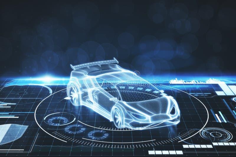 Begrepp för konstgjord intelligens, transport- och projektions stock illustrationer