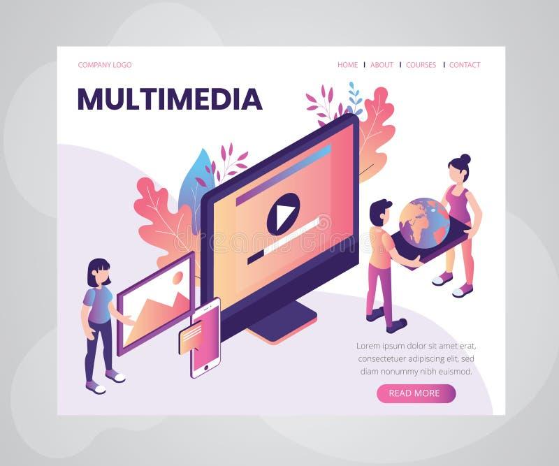 Begrepp för konstverk för multimediamusikspelare isometriskt royaltyfri illustrationer