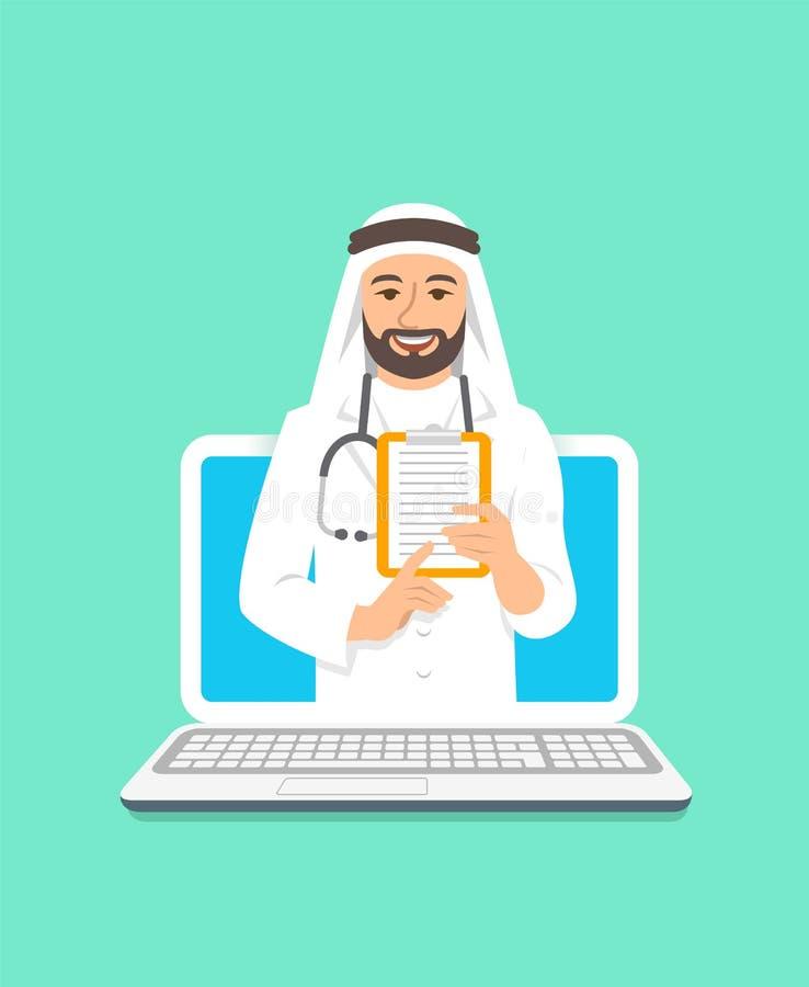 Begrepp för konsultation för ung arabisk mandoktor online- vektor illustrationer