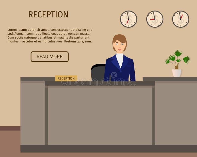 Begrepp för kontor för affär för hotellmottagandeskrivbord mottagandeservice stock illustrationer