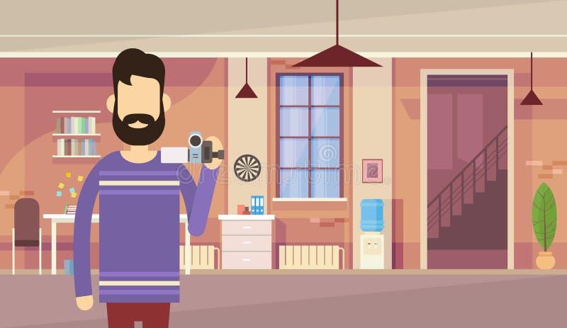 Begrepp för kontor för kamera för manBloggerhåll inre videopn Blogging stock illustrationer