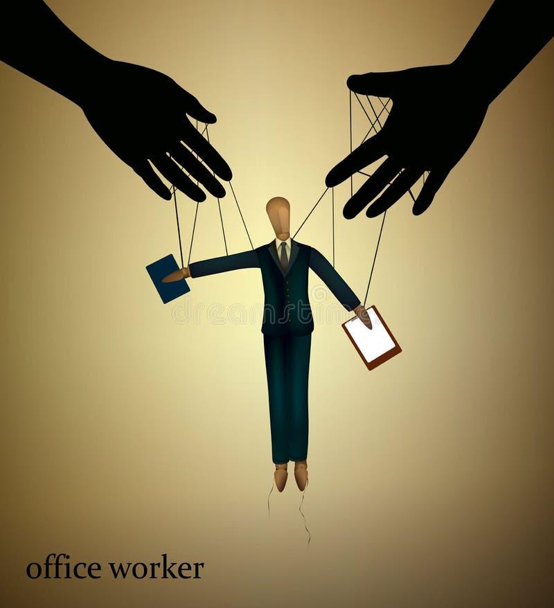 Begrepp för kontorsarbetare, trädocka som behandlas av händer som kontorsarbetare av framstickandet, royaltyfri illustrationer