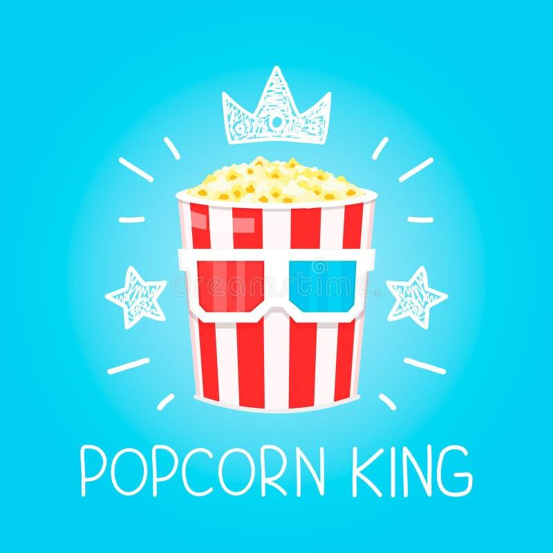 Begrepp för konung Popcorn för lägenhet för biovektortecknad film och klotterillustration stock illustrationer