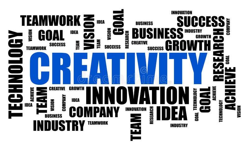 Begrepp för kreativitetordmoln på vit bakgrund stock illustrationer