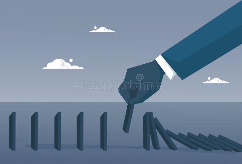 Begrepp för kris för kuggning för stång för diagram för hand för affärsman fallande ekonomiskt stock illustrationer