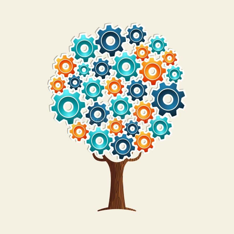 Begrepp för kuggehjulträd för teamworklösning royaltyfri illustrationer