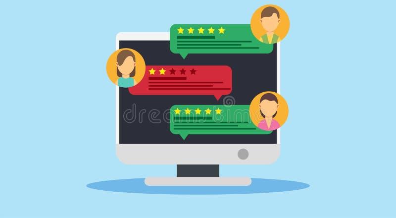 Begrepp för kundgranskningsymbol Internet för granskning för återkopplingsteckenanseende utmärkt Värdering för kommunikationstill stock illustrationer
