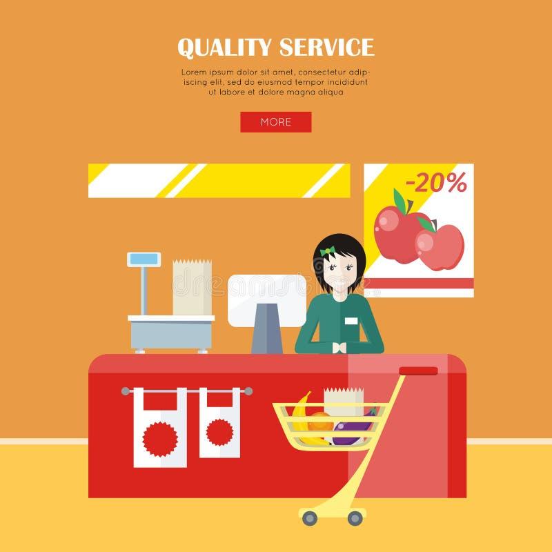 Begrepp för kvalitets- service vektor illustrationer