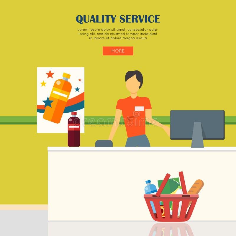 Begrepp för kvalitets- service stock illustrationer
