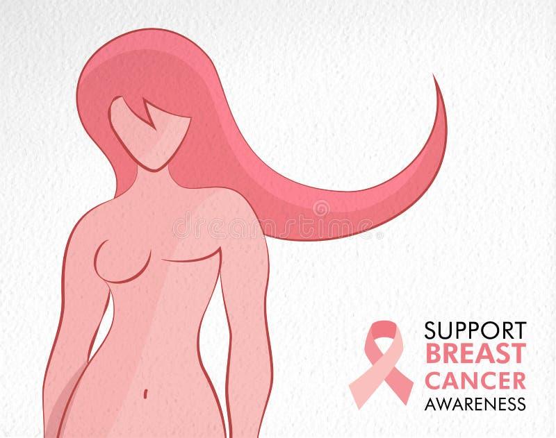 Begrepp för kvinna för bröstcancermedvetenhetöverlevande vektor illustrationer