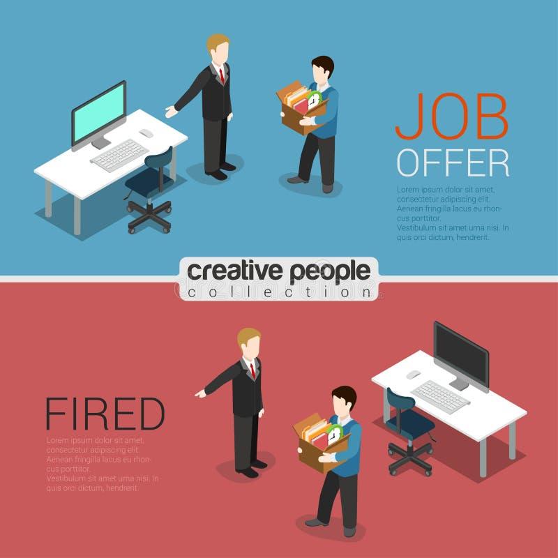 Begrepp för lägenhet 3d för avskedande för timme-jobberbjudande avfyrat isometriskt modernt royaltyfri illustrationer