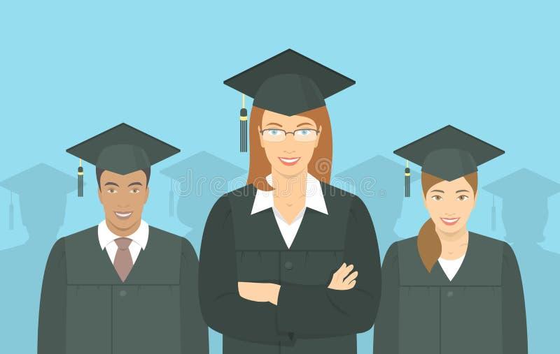 Begrepp för lägenhet för kandidatexamen för ungdomarkandidat stock illustrationer