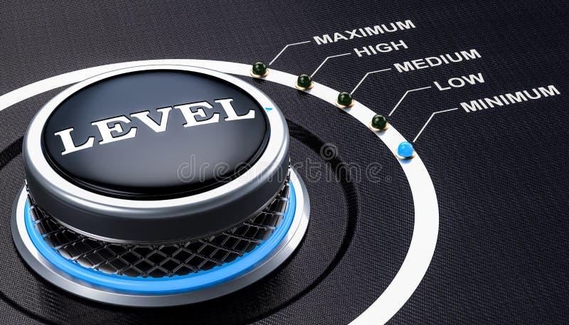 Begrepp för lägst nivå, knopp 3d stock illustrationer