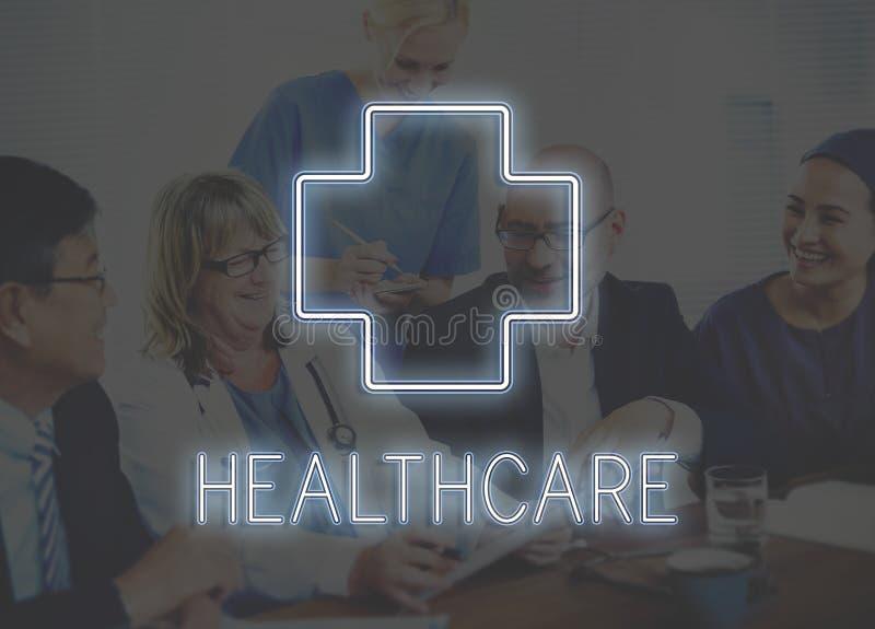 Begrepp för läkarundersökning- och sjukvårdsymbolsdiagram royaltyfri fotografi