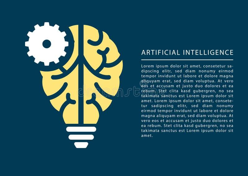 Begrepp för lära för maskin och för konstgjord intelligens med symbolen för hjärna och för ljus kula royaltyfri illustrationer