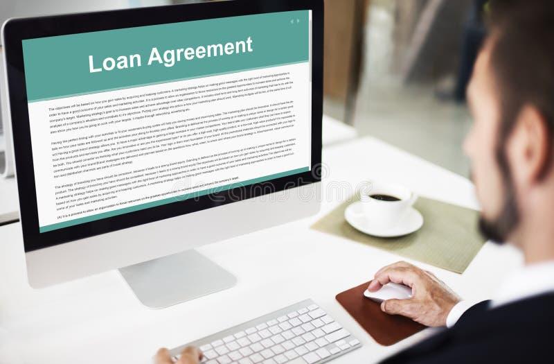 Begrepp för lån för kreditering för budget för lånöverenskommelse huvud arkivfoton
