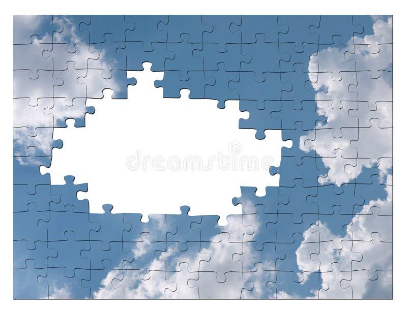 Begrepp för lösning för blåttskyaffär - jigsaw stock illustrationer