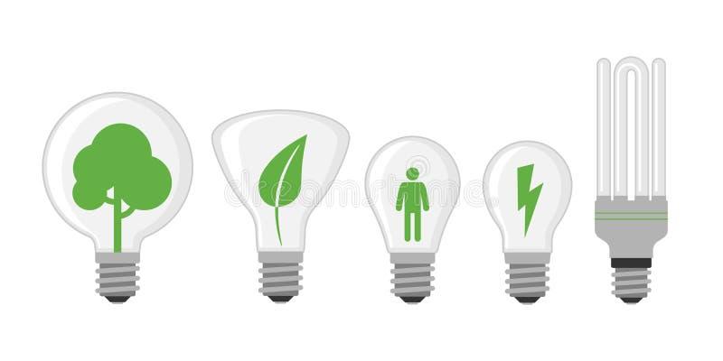 Begrepp för lösning för träd för gräsplan för elkraft för illustration för vektor för lägenhet för design för ljus kula för teckn royaltyfri illustrationer