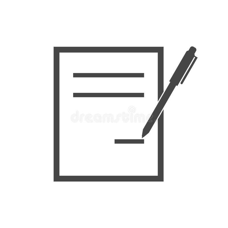 Begrepp för laglig överenskommelse för kontraktskrivning, enkel vektorsymbol royaltyfri illustrationer