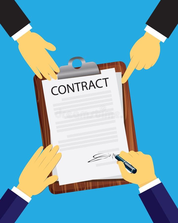 Begrepp för laglig överenskommelse för kontraktskrivning också vektor för coreldrawillustration vektor illustrationer