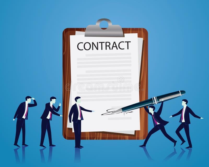 Begrepp för laglig överenskommelse för kontraktskrivning också vektor för coreldrawillustration royaltyfri illustrationer