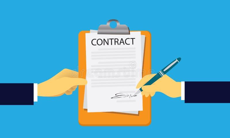 Begrepp för laglig överenskommelse för kontraktskrivning också vektor för coreldrawillustration stock illustrationer