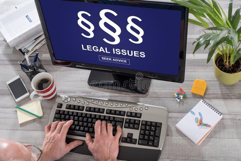 Begrepp för lagliga frågor på en dator arkivbild