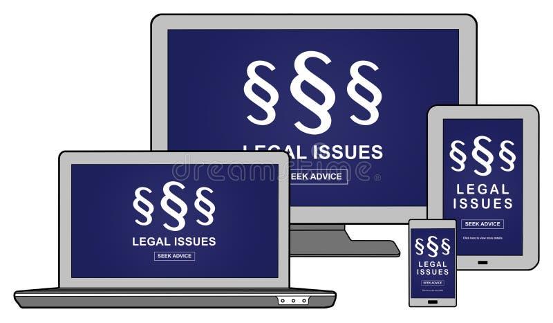 Begrepp för lagliga frågor på olika apparater stock illustrationer