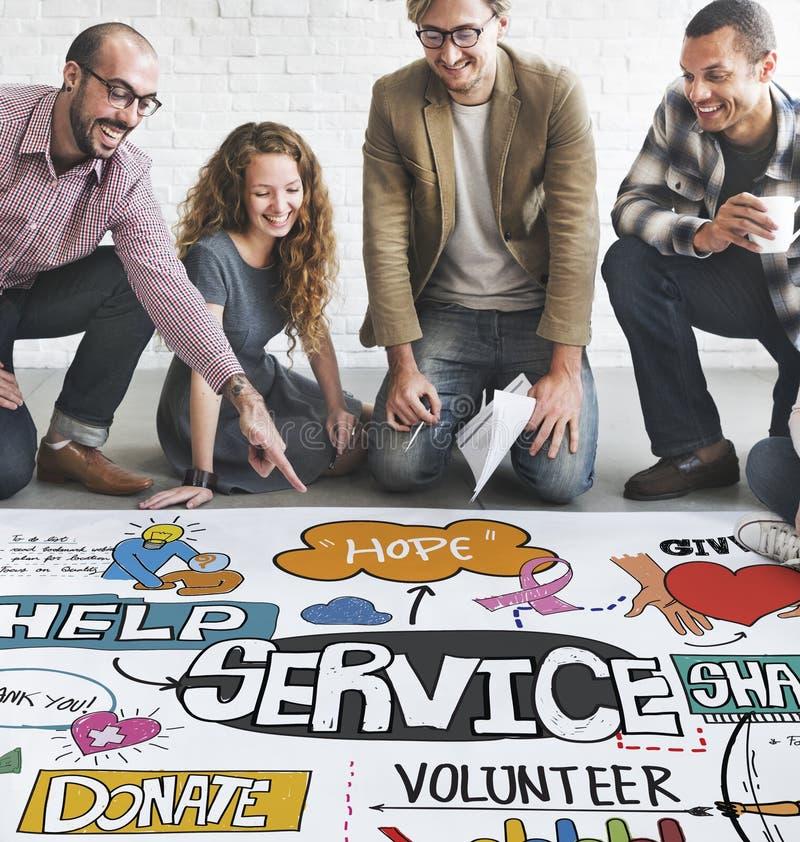 Begrepp för leverans för kund för hjälp för tjänste- service arkivbild
