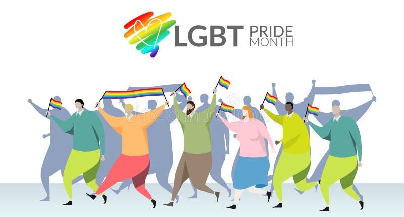 Begrepp för LGBT-stolthetmånad ståta deltagaren vinkar en glad regnbågeflagga i hand på glad stolthet för LGBT ståtar festival på royaltyfri illustrationer