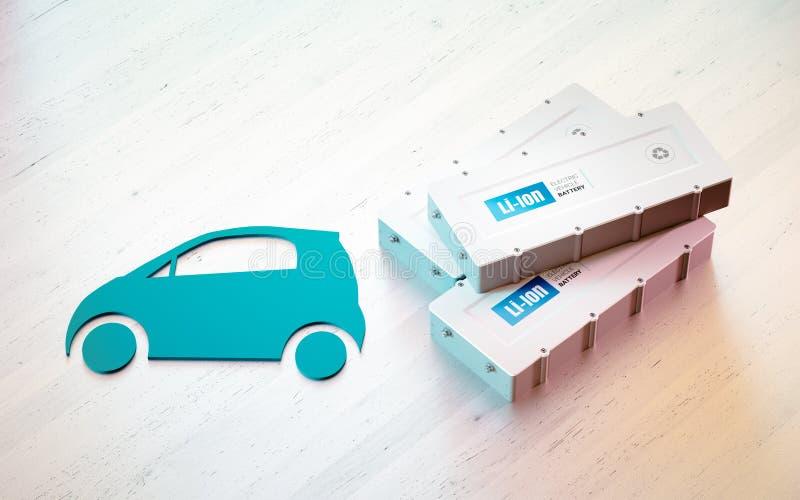 Begrepp för Li-jon elektriskt medelbatteri Bilsymbol med EV-batteri vektor illustrationer