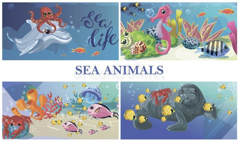 Begrepp för liv för tecknad filmhav undervattens- royaltyfri illustrationer
