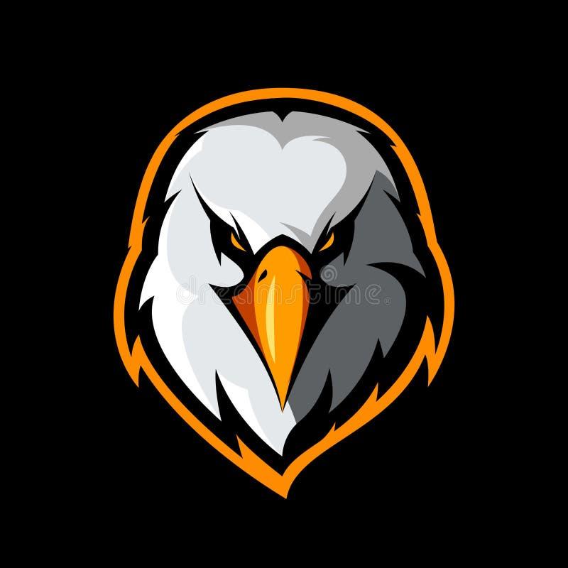 Begrepp för logo för vektor för klubba för rasande örnhuvud som idrotts- isoleras på svart bakgrund stock illustrationer