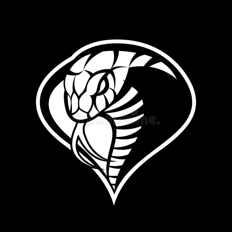 Begrepp för logo för vektor för rasande kobrasport som mono isoleras på mörk bakgrund stock illustrationer
