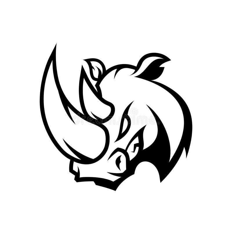 Begrepp för logo för vektor för rasande noshörningsport som mono isoleras på vit bakgrund stock illustrationer