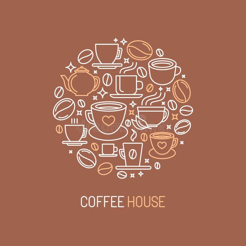 Begrepp för logo för vektorkaffehus vektor illustrationer
