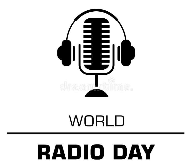 Begrepp för logo för världsradiodag på den vita bakgrunden royaltyfri illustrationer