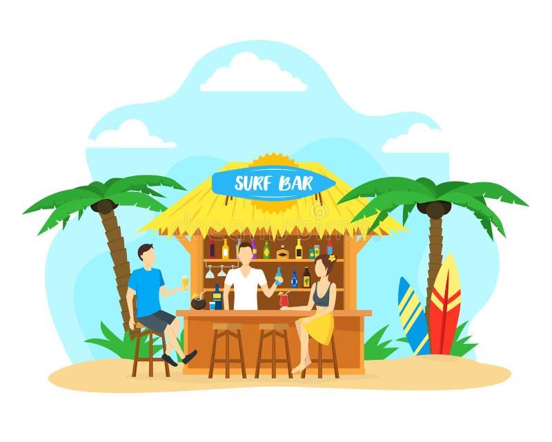 Begrepp för lopp för semester för sommar för stång för tecknad filmbränningstrand vektor vektor illustrationer