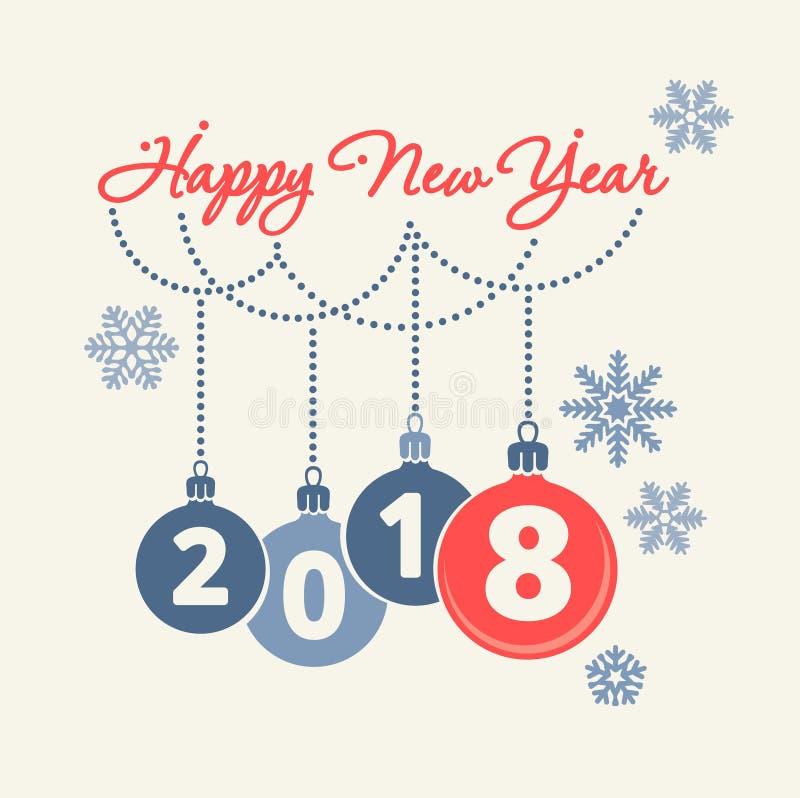 Begrepp 2018 för lyckligt nytt år stock illustrationer