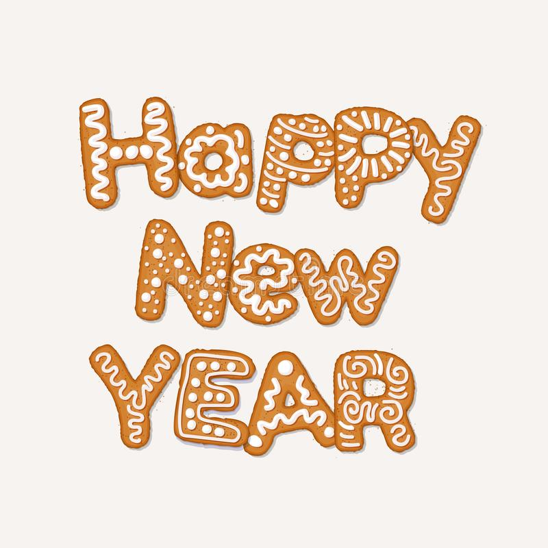 Begrepp för lyckligt nytt år med pepparkakakakor som täckas i is-socker sirap som isoleras på vit Julferiekaka royaltyfri illustrationer