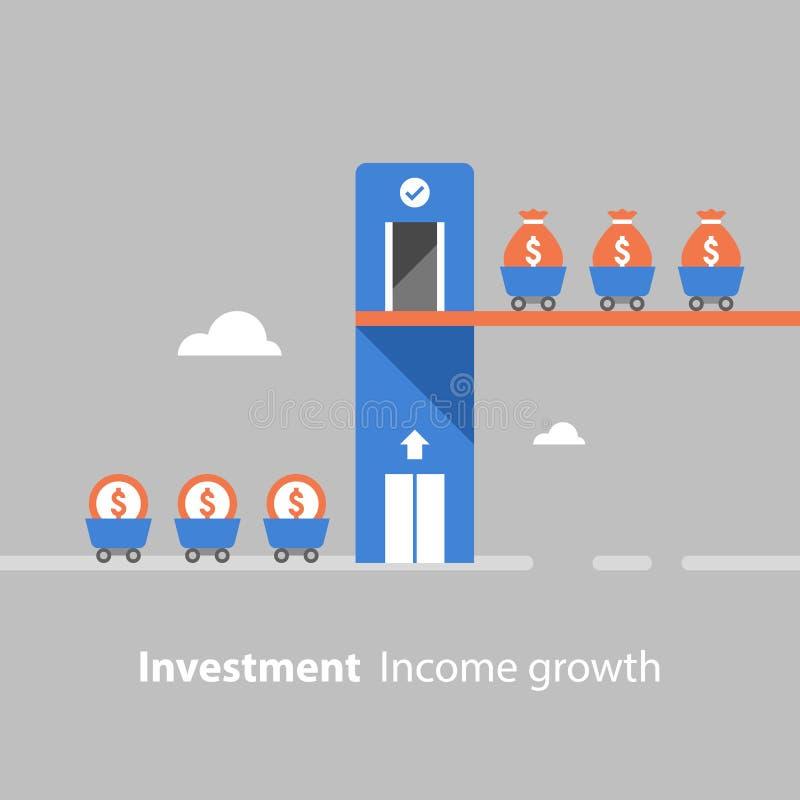 Begrepp för lyfta för fond, retur på investeringen, inkomsttillväxt, intäktförhöjning, finansiell produktivitet, utvärdering, akt royaltyfri illustrationer