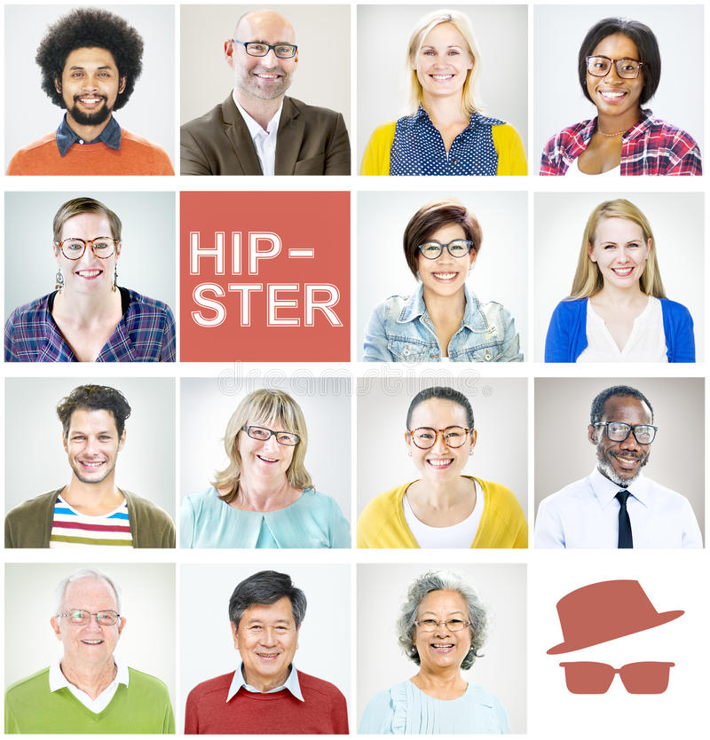 Begrepp för mångfald för Hipster för egenartståendeprofil arkivbild