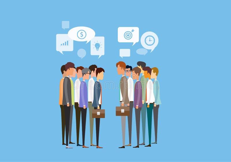 begrepp för möte för affär för två grupppersoner och för affärskommunikation royaltyfri illustrationer