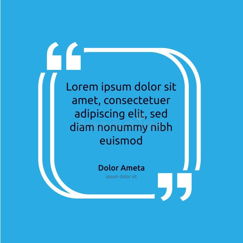 Begrepp för mall för affisch för ask för anmärkningcitationsteckentext tomt töm ramstämningen Symbol för kostnadsförslagavsnittsy stock illustrationer