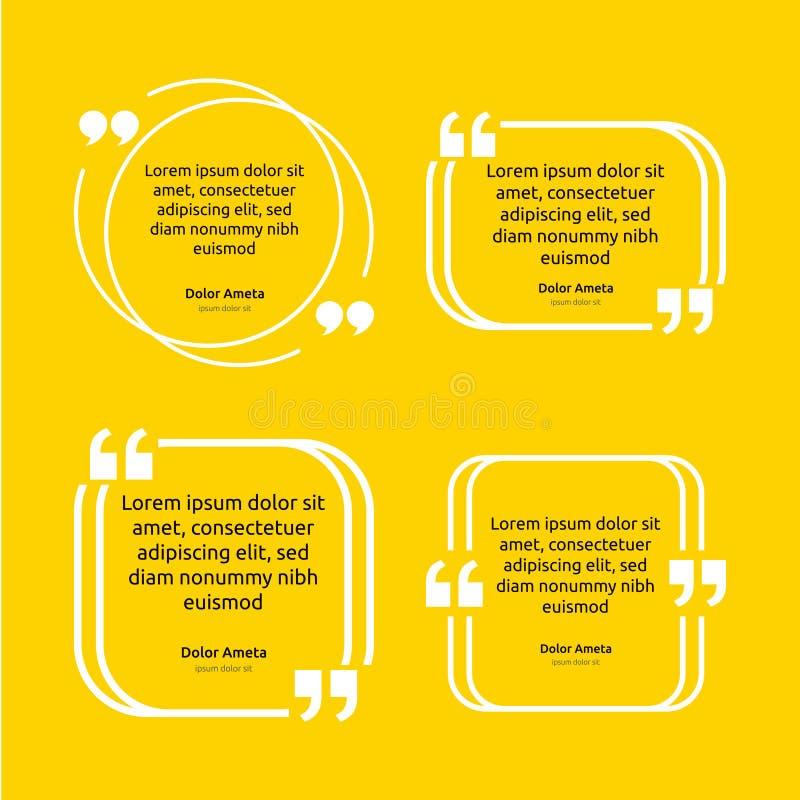 Begrepp för mall för affisch för ask för anmärkningcitationsteckentext tomt töm ramstämningen Symbol för kostnadsförslagavsnittsy vektor illustrationer